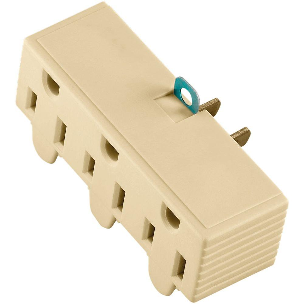 hight resolution of 15 amp 125 volt 3 outlet grounding adapter with lug ivory