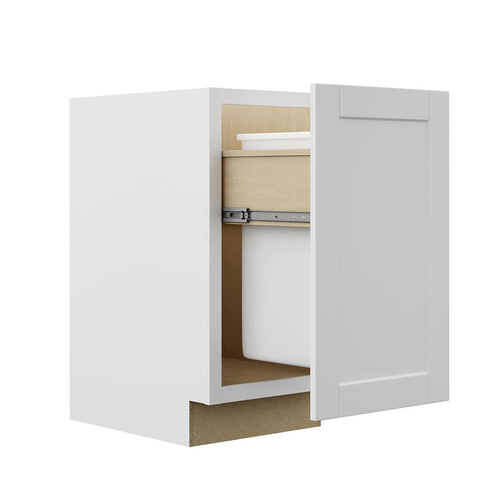 pull out kitchen cabinet marielle faucet hampton bay shaker assembled 18x34 5x24 in trash can base