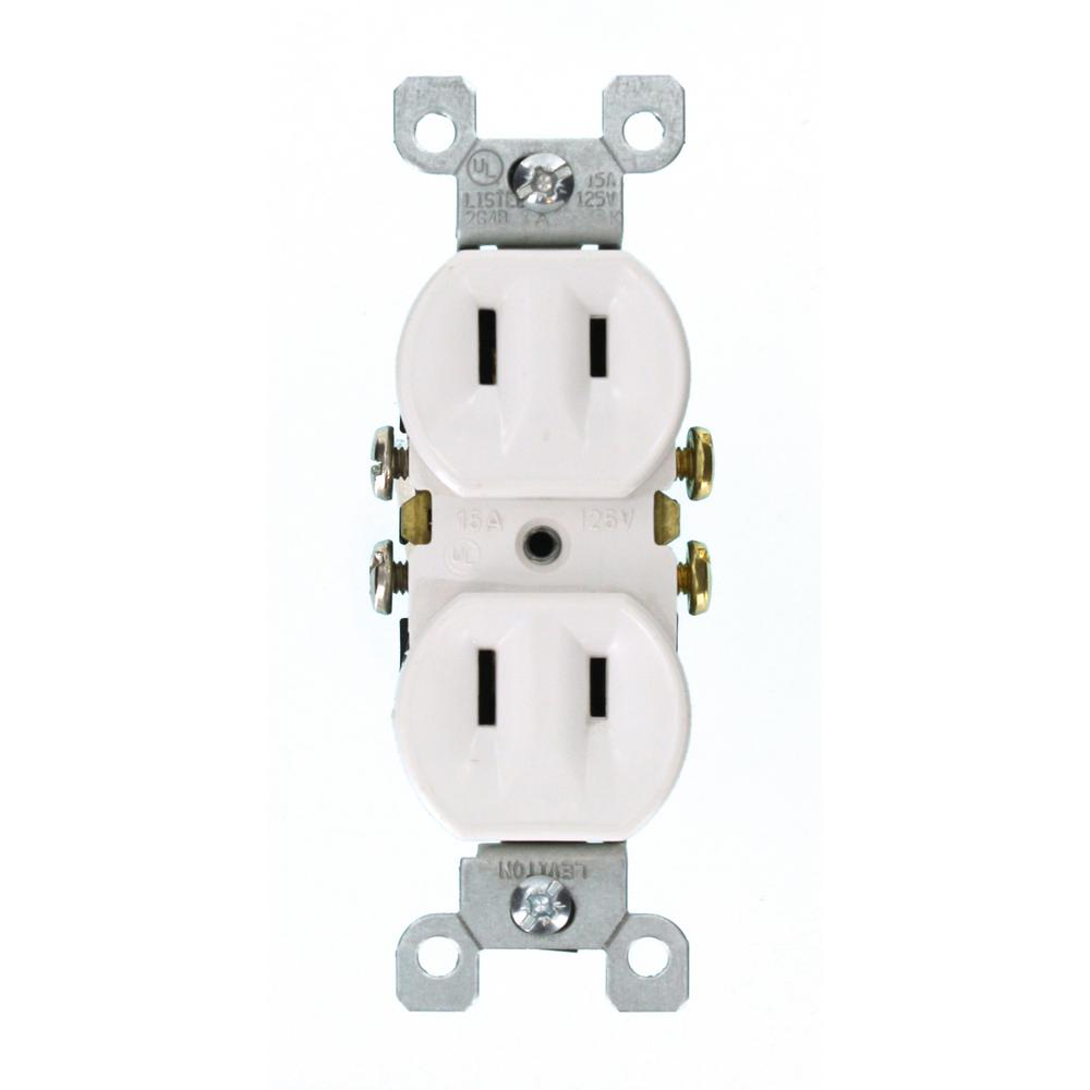 hight resolution of leviton 15 amp 2 wire duplex outlet white