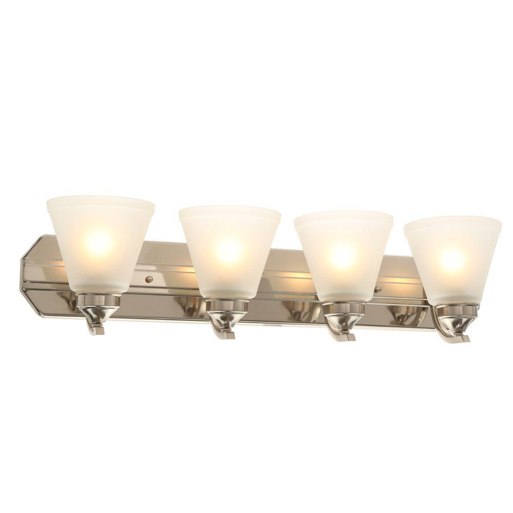 medium resolution of hampton bay 4 light brushed nickel vanity light with frosted shades