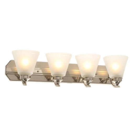 small resolution of hampton bay 4 light brushed nickel vanity light with frosted shades