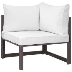 Corner Lounge Chair Heavy Duty Beach Modway Fortuna Aluminum Outdoor Patio In Brown With White Cushions