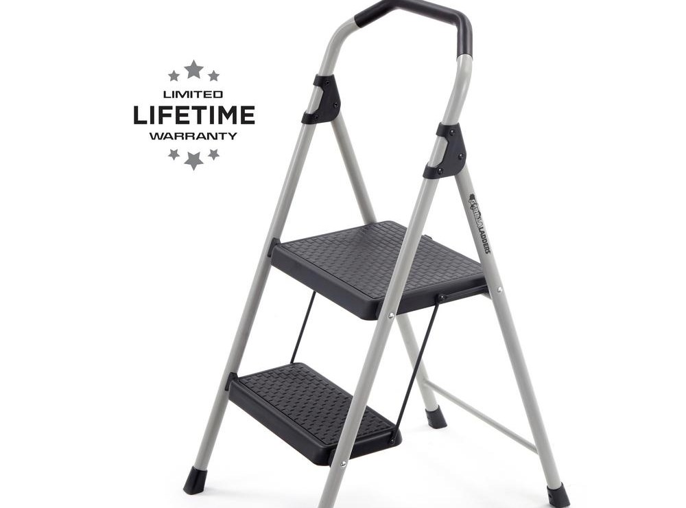 Gorilla Ladders 2 Step Lightweight Steel Step Stool Ladder With   Metal Steps Home Depot   Wrought Iron Railings   Flashing   Step Stool   Deck Railing   Stair Treads
