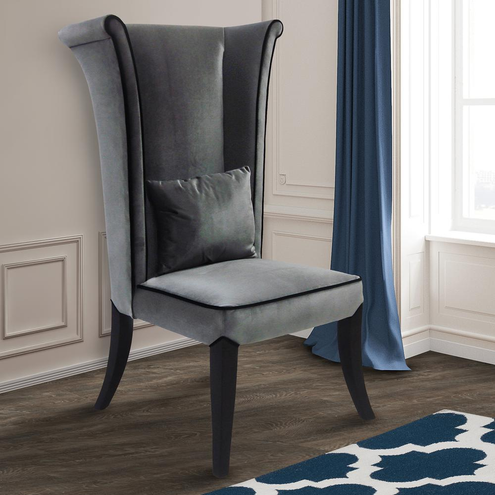 modern gray dining chairs chair cover rentals las vegas armen living mad hatter 52 in velvet and black wood finish