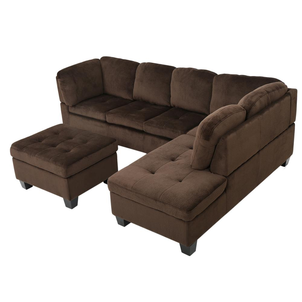 noble house 3 piece chocolate brown tufted polyester 4 seater l shaped sectional sofa 7670 the home depot