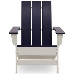 Modern Adirondack Chair Bjs Folding Chairs Durogreen Aria White With Navy Blue Recycled Plastic