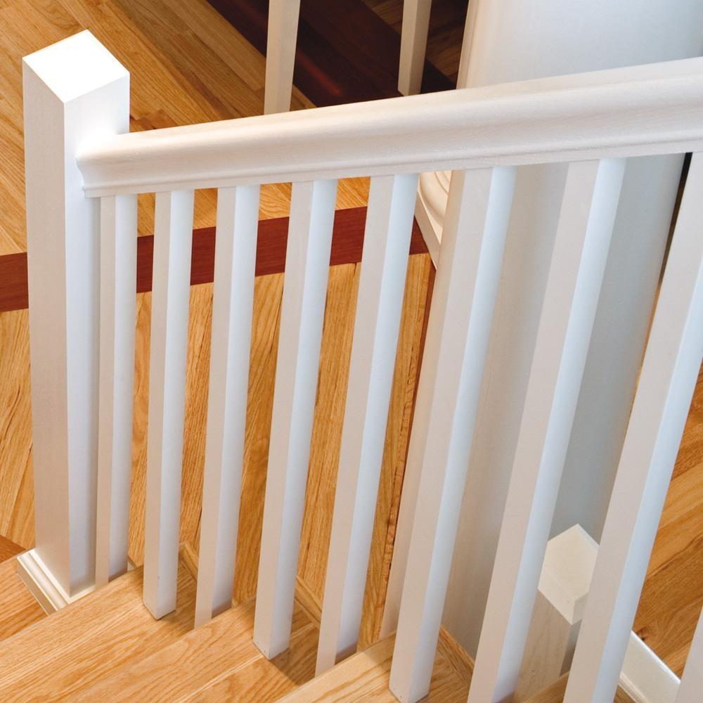 Stair Parts 6010 16 Ft Unfinished Poplar Stair Handrail 6010P Esr | Poplar Stair Treads Home Depot | Newel Cap | 000 0000L | Quarter Turn | Baluster | Rosette