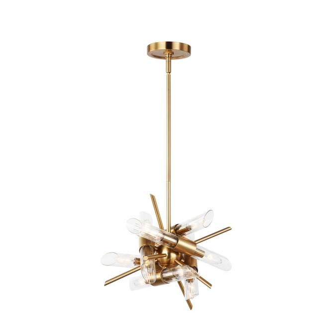 Feiss Quorra 12 Light Burnished Brass Chandelier With Clear Fluted Glass Shade