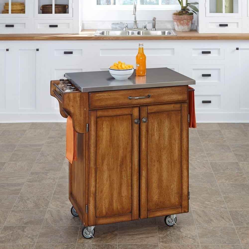 oak kitchen cart samsung appliance reviews home styles create a warm with stainless top 9001 0062 the depot