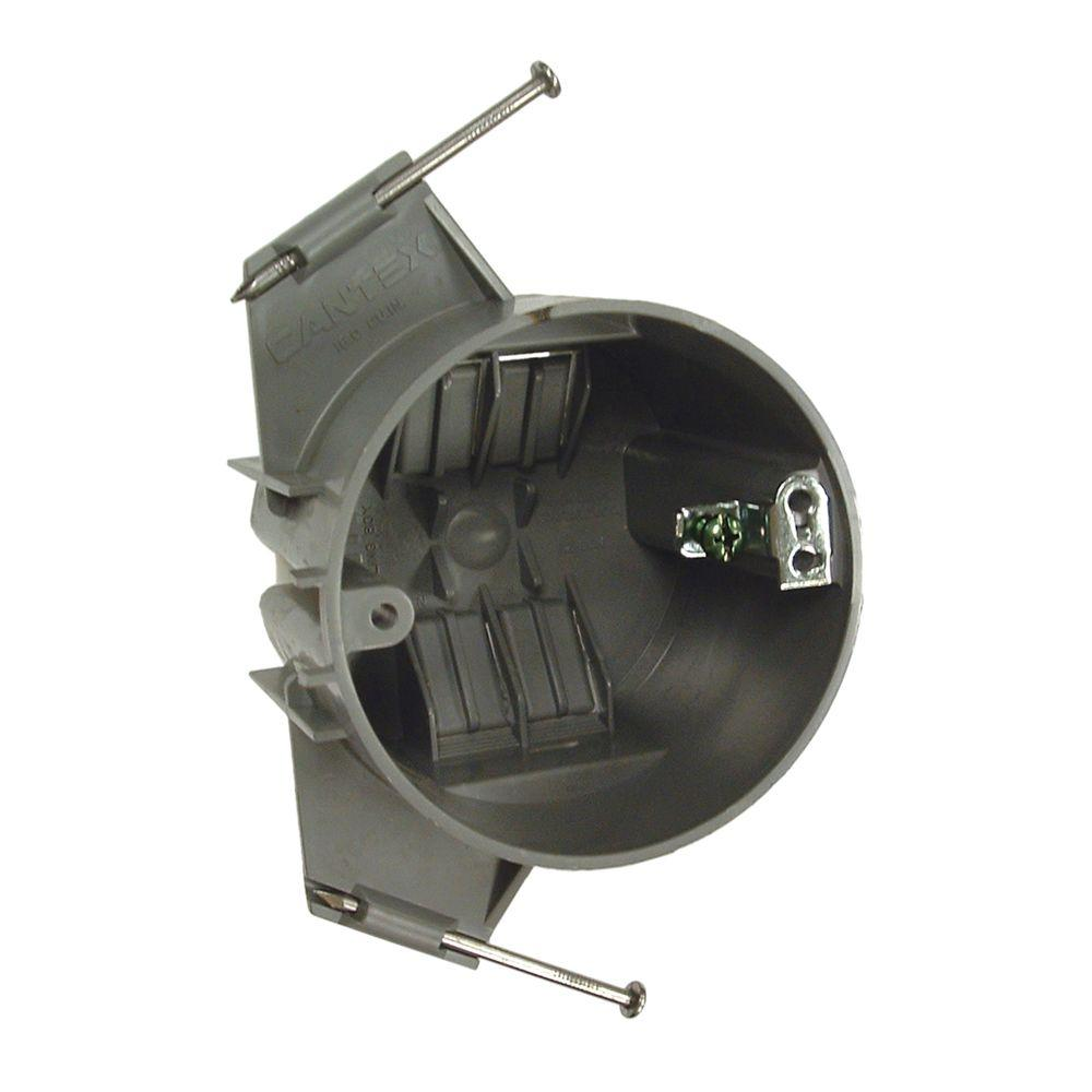 medium resolution of round non metallic ceiling box 2 5 8 in deep with nails 75 pack