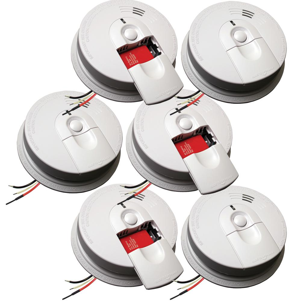 hight resolution of hardwire smoke detector with 9v battery backup and front load battery door 6 pack