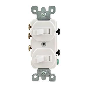 Leviton 15 Amp 3Way Double Toggle Switch, WhiteR6205241