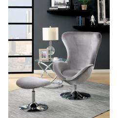 Gray Accent Chair With Ottoman Patio Repair Fabric Sheila High Back Cm Ac6841gy The Home Depot