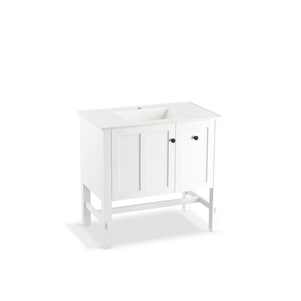 kohler tresham 36 in w vanity in linen white with vitreous china vanity top in