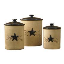 Park Design Star Vine Beige 3-piece Ceramic Canister Set