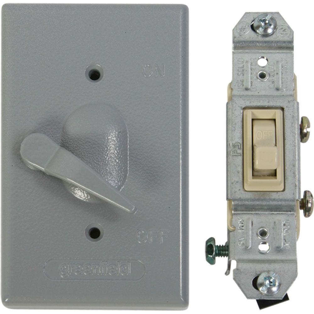 medium resolution of greenfield weatherproof electrical box lever switch cover with single pole switch gray
