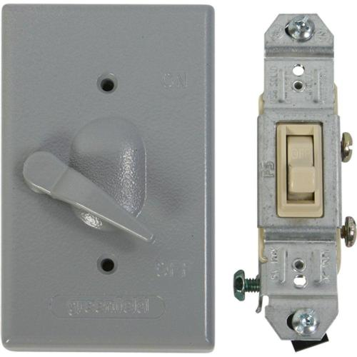 small resolution of greenfield weatherproof electrical box lever switch cover with single pole switch gray