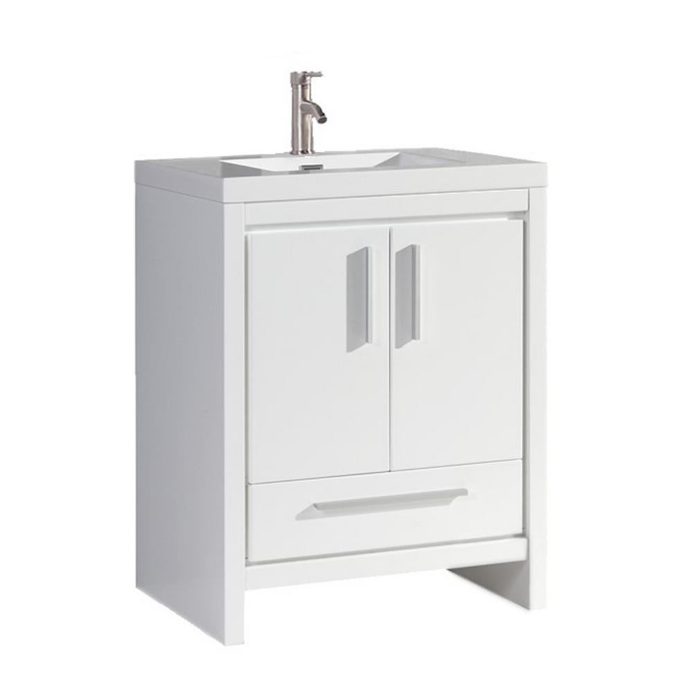 Mtd Vanities Miami 30 In W X 19 5 In D X 36 In H Vanity In White With Acrylic Vanity Top In White White Basin Mtd Mi30w The Home Depot