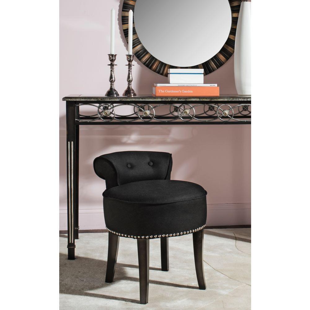 Safavieh Georgia Black Linen Vanity StoolMCR4546J  The