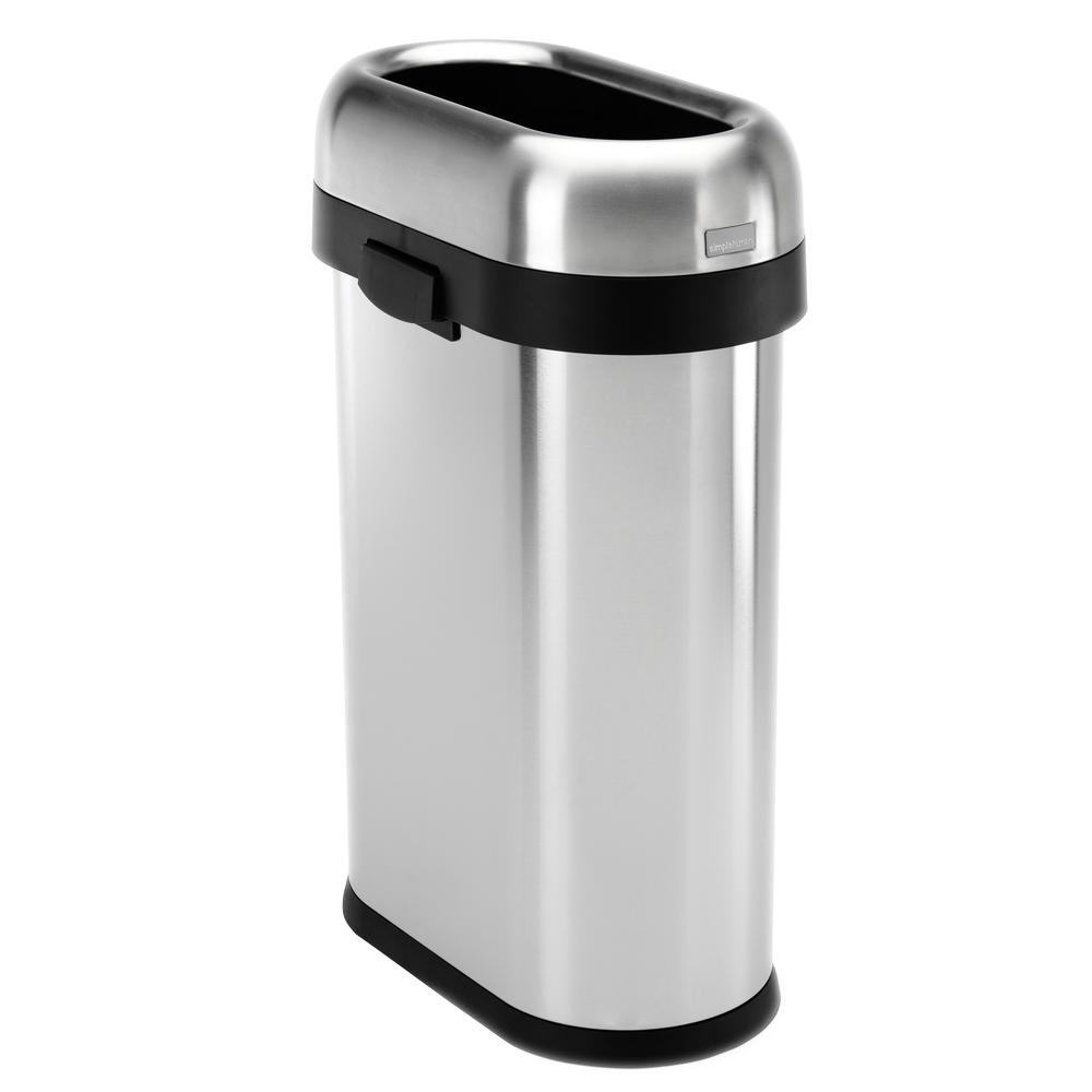simplehuman kitchen trash can moen hands free faucet 50 liter 13 gal heavy gauge brushed stainless steel slim open top commercial