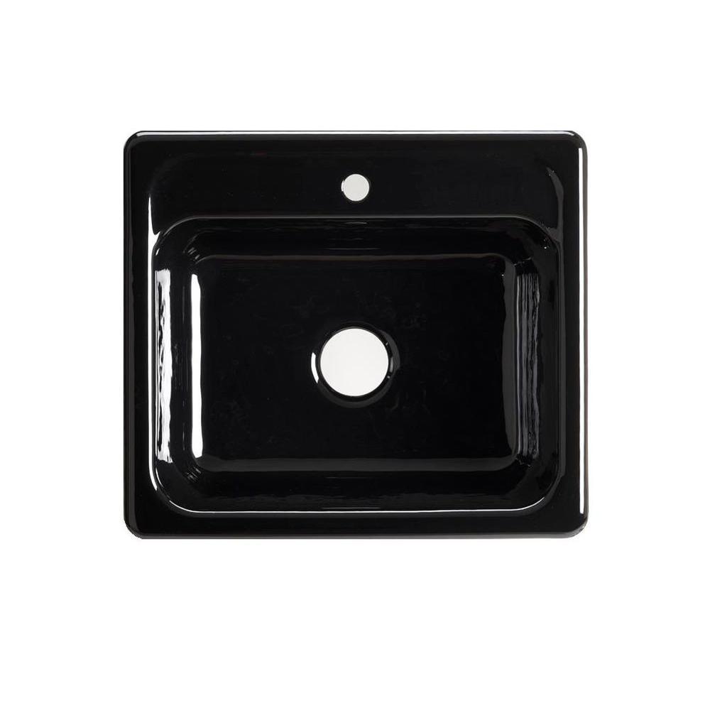single bowl cast iron kitchen sink drain size kohler mayfield drop in 25 1 hole black