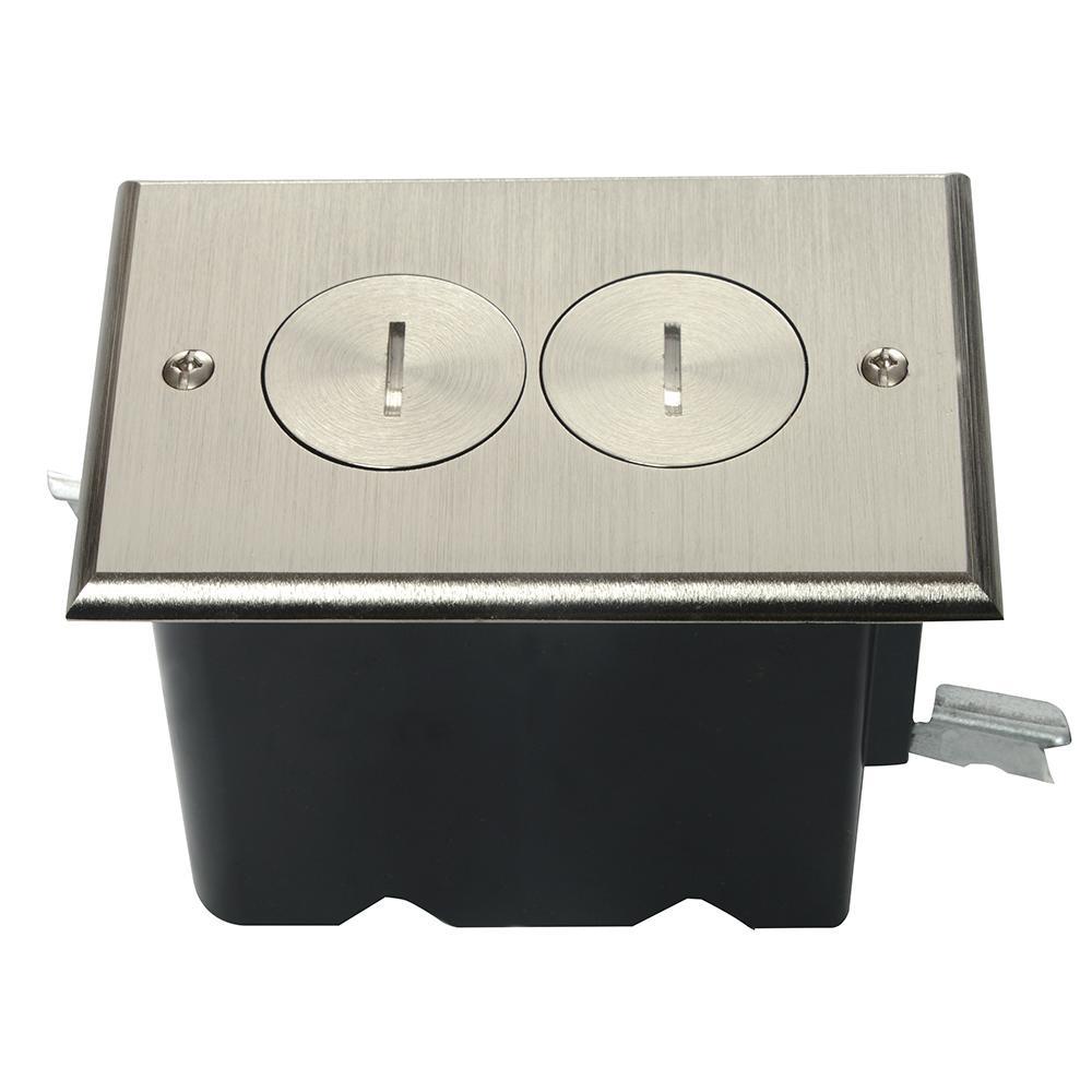 Slater Nickel 1Gang Floor Box with TamperResistant