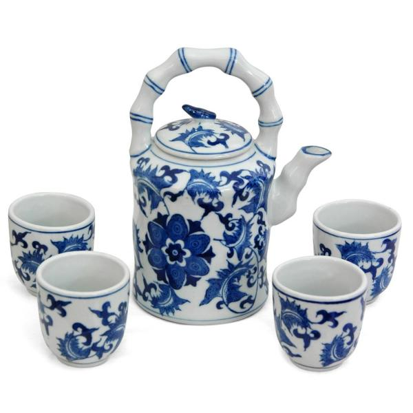 Oriental Furniture Floral Blue And White Porcelain Tea Set