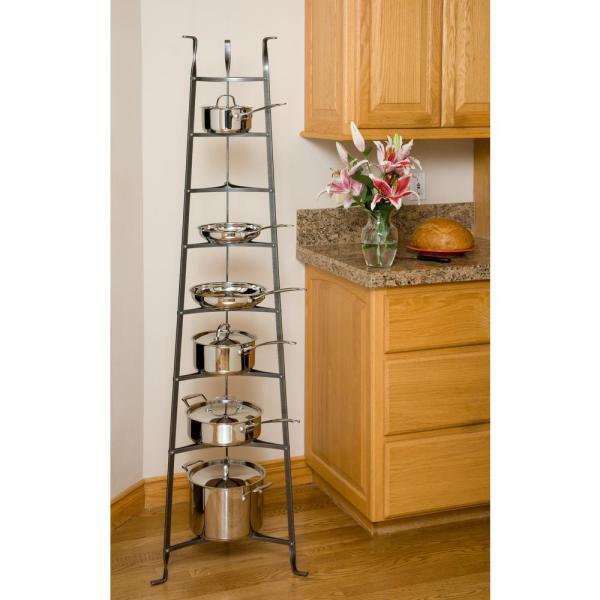 Enclume 8-tier Cookware Stand Free Standing Pot Rack In Hammered Steel Unassembled -cws8 Kd Hs