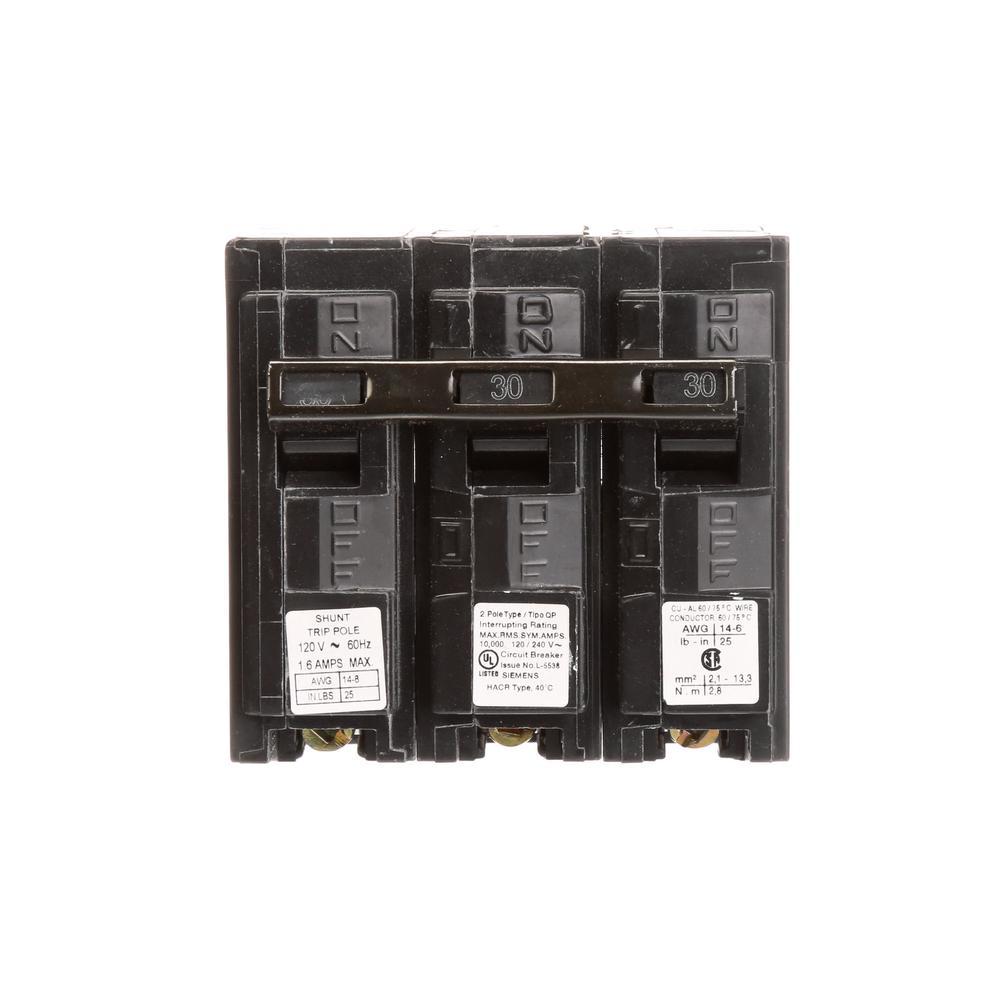 medium resolution of siemens 30 amp 2 pole qp 10 ka circuit breaker with shunt trip
