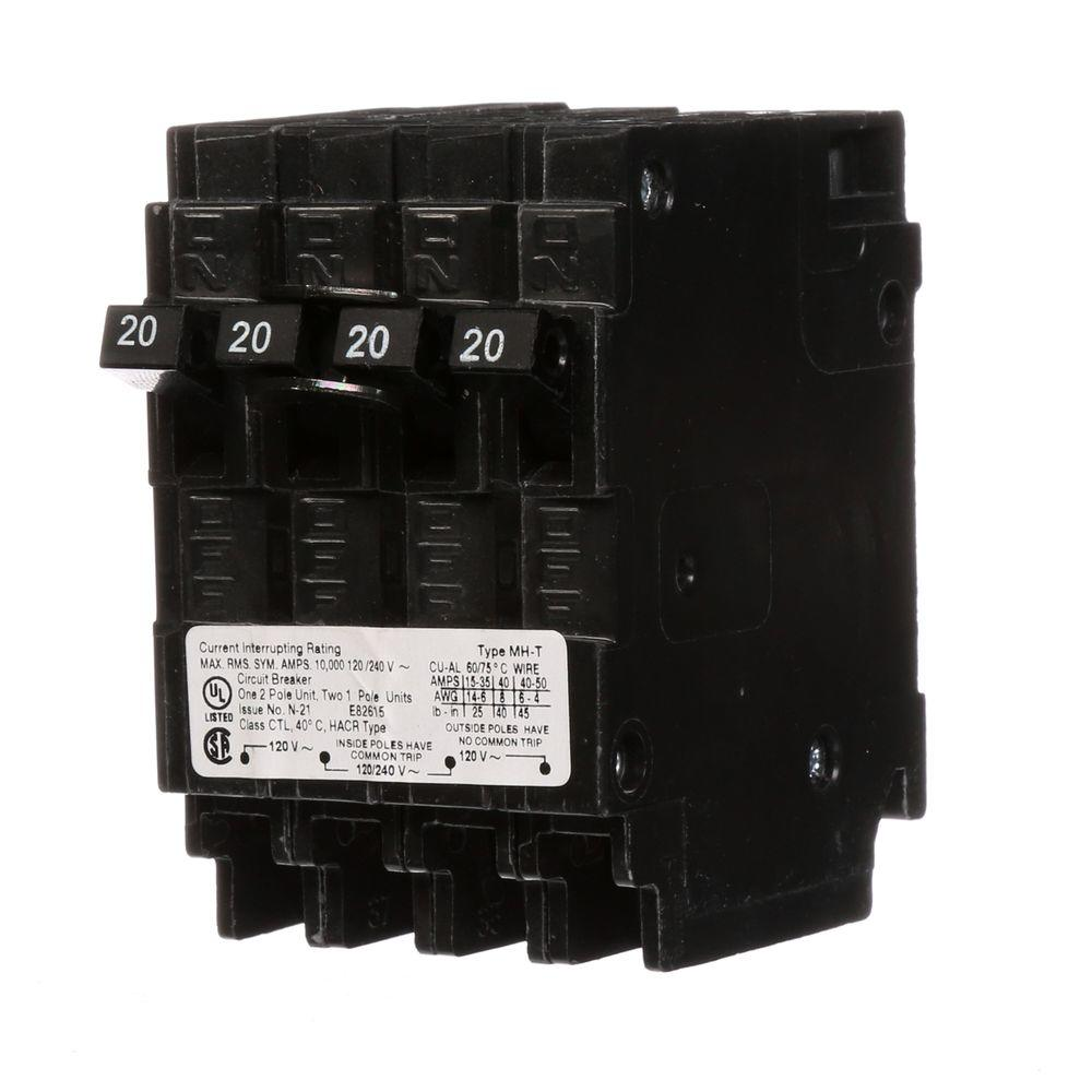 hight resolution of triplex two outer 20 amp single pole