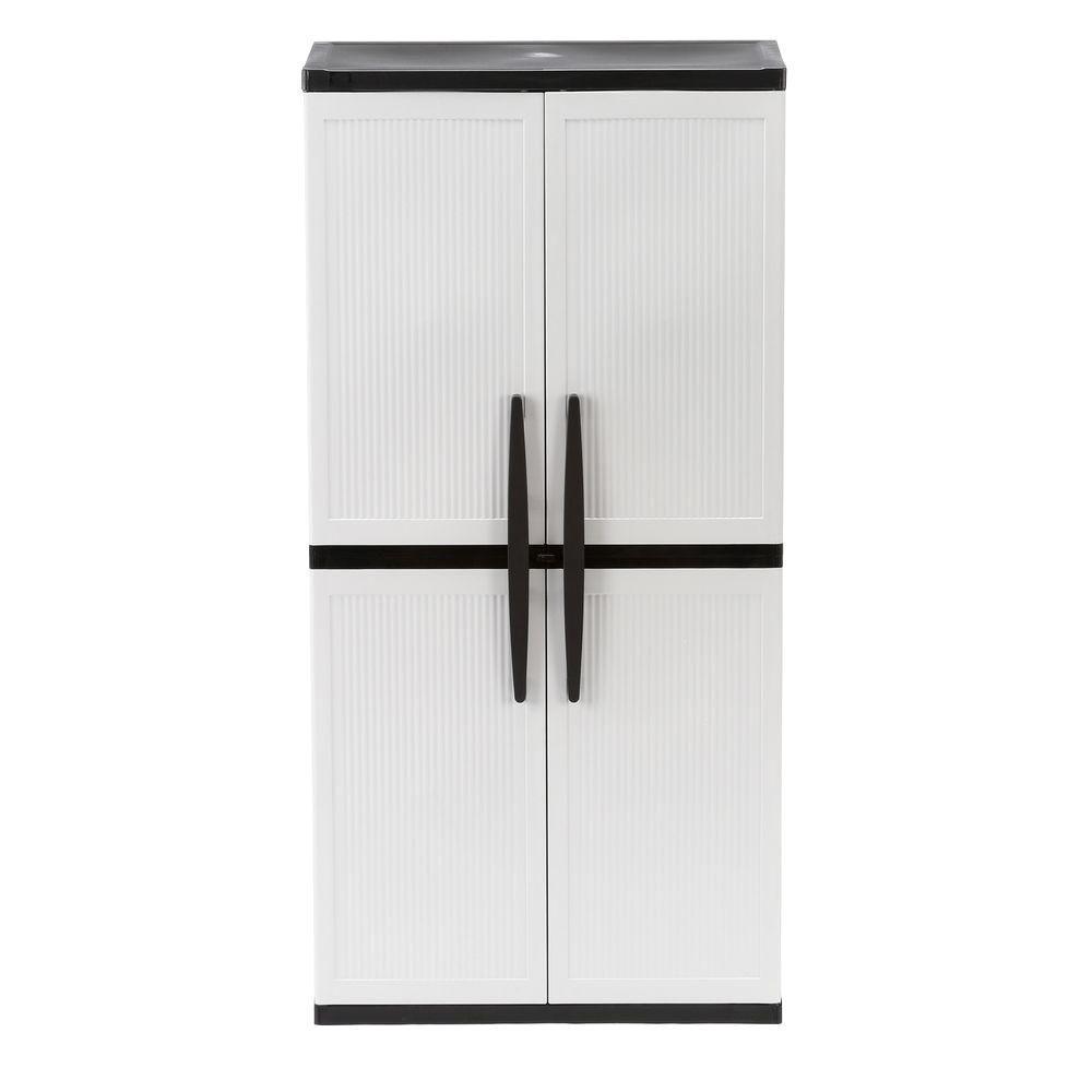 home depot kitchen storage cabinets island carts hdx 35 in w 4 shelf plastic multi purpose cabinet gray 221872