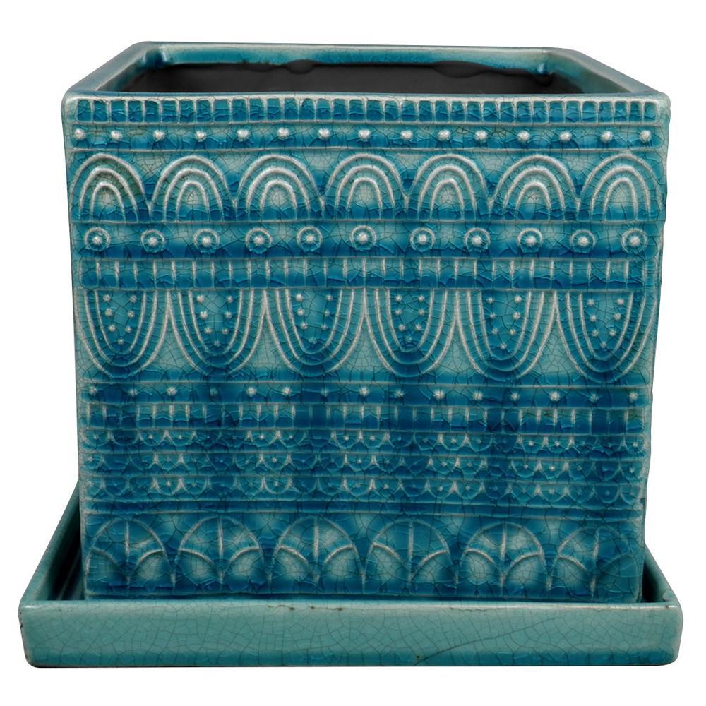 Trendspot 8 in Dia Blue Ceramic Seven Seas Square Pot