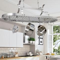 Kitchen Pot Racks White Sinks Enclume Handcrafted Scroll Arm Oval Ceiling Rack With 24 Hooks Stainless Steel