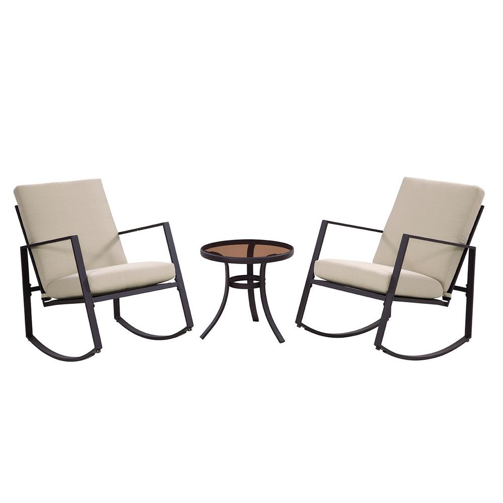 Outdoor Rocking Chair Set Liberty Garden Aurora 3 Piece Metal Outdoor Rocking Chair Set With Neutral Cushions