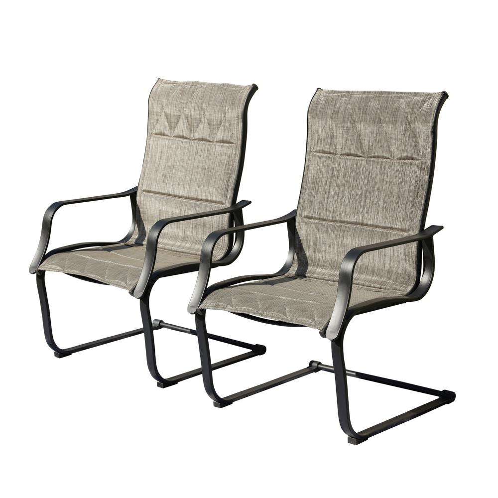 Patio Festival Padded Spring Sling Outdoor Dining Chair 2