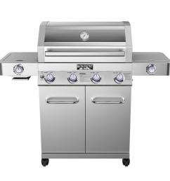 monument grills 4 burner propane gas grill in stainless with clear view lid led [ 1000 x 1000 Pixel ]
