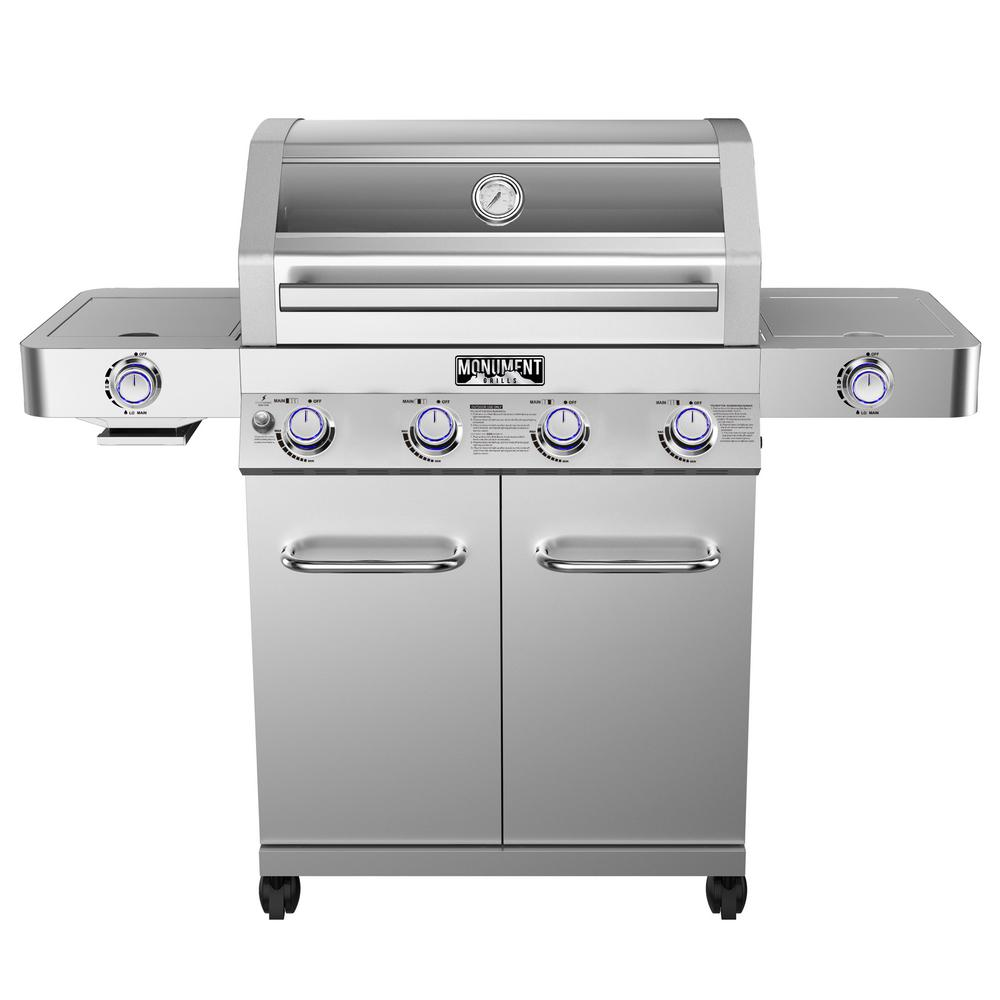 medium resolution of monument grills 4 burner propane gas grill in stainless with clear view lid led