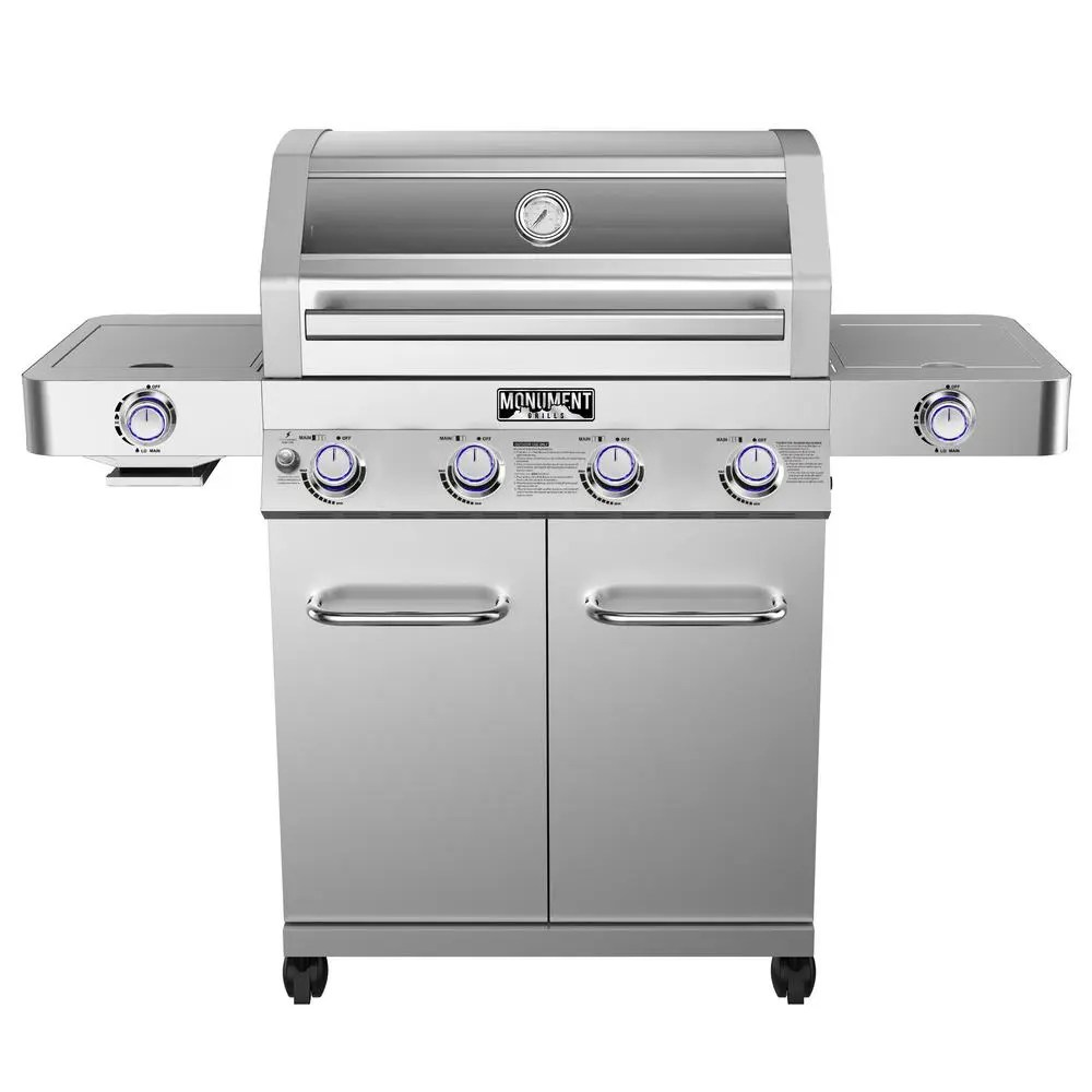 hight resolution of monument grills 4 burner propane gas grill in stainless with clear view lid led