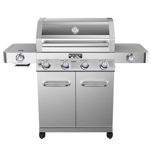 small resolution of monument grills 4 burner propane gas grill in stainless with clear view lid led