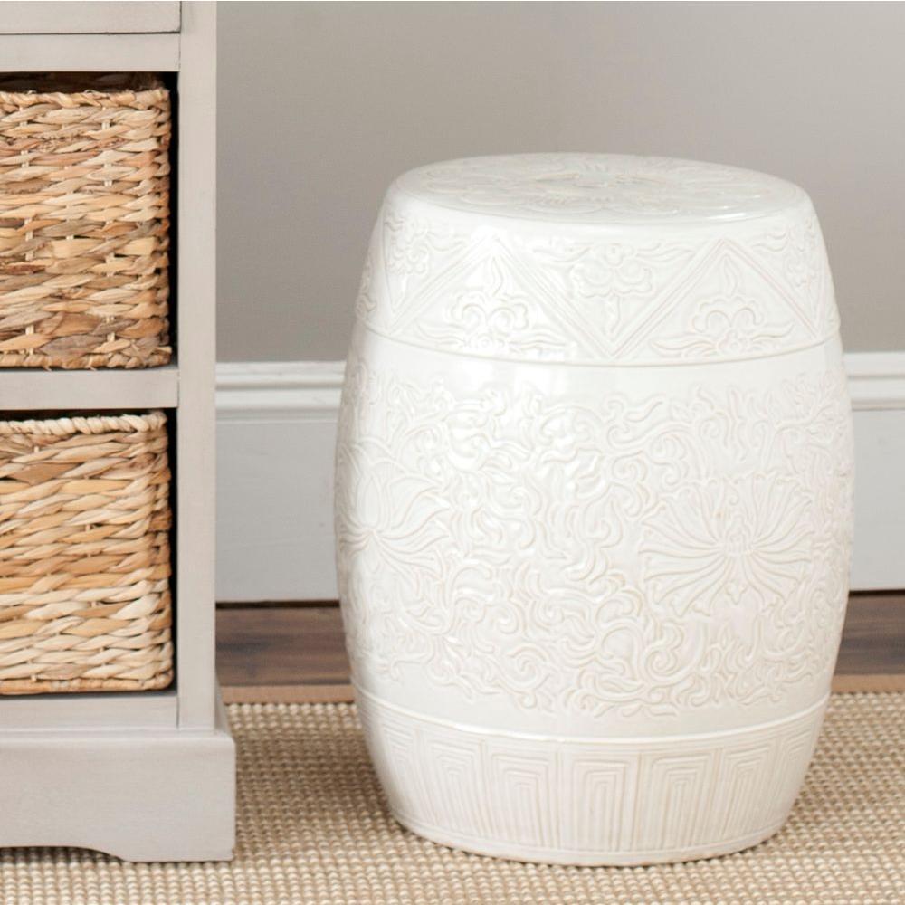 Safavieh Lotus Off White Ceramic Patio StoolACS4502B
