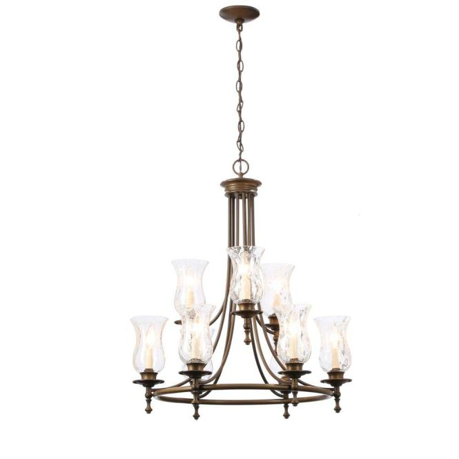 Hampton Bay Grace 9 Light Rubbed Bronze Chandelier With Seeded Glass Shades 14688 The Home Depot