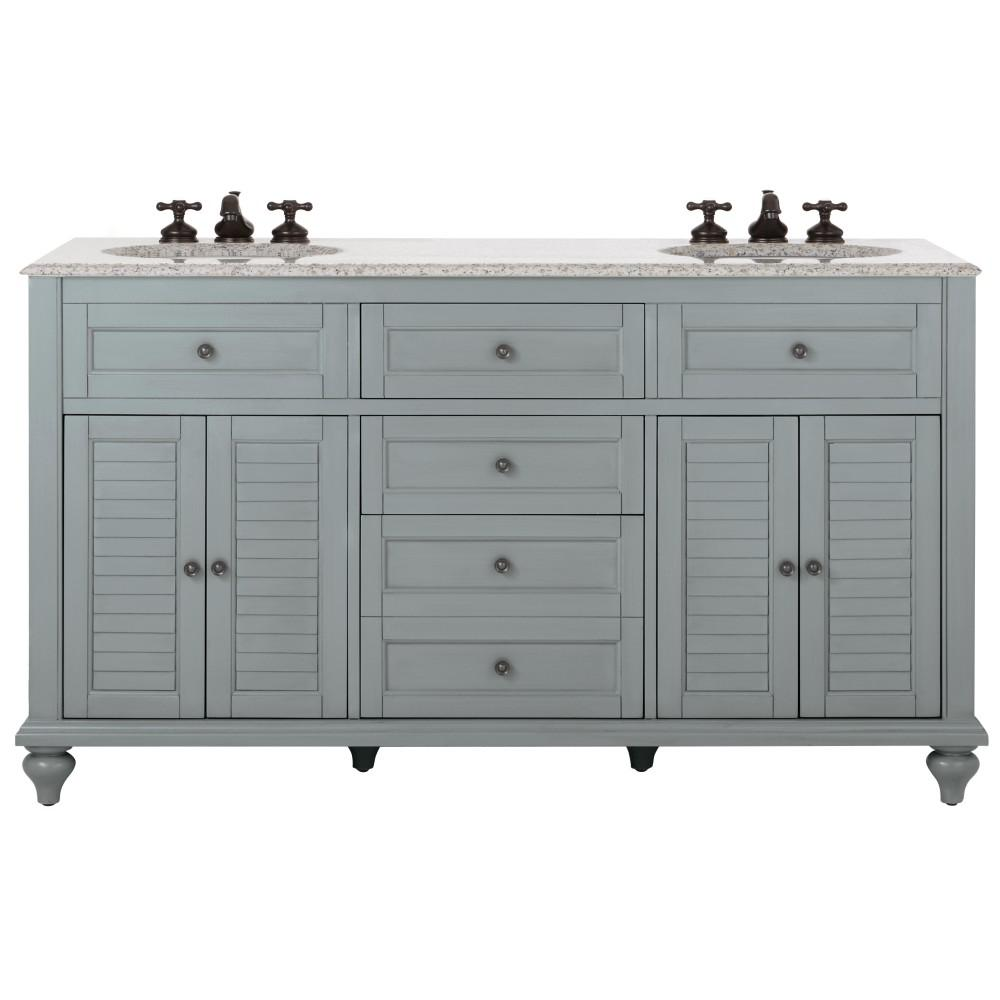 Bathroom Vanity San Diego Hamilton 61 In W X 22 In D Double Bath Vanity In Grey With Granite Vanity Top In Grey With White Sink