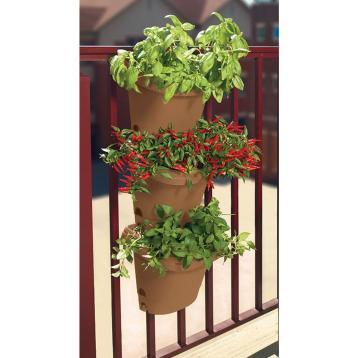 Bloem Hanging Garden 3 Piece Chocolate Plastic Planter System