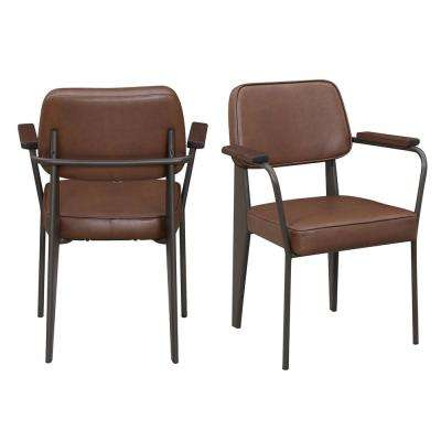 mid century accent chair plastic with metal legs faux leather side modern chairs ashtyn cognac set of 2