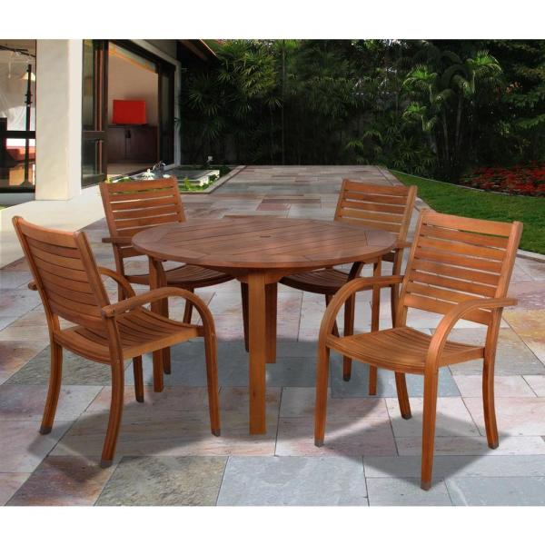 5fe1258026 Walker Edison 3 Piece Acacia Wood Patio Conversation Set Brown Ow3sbr-2lst.  Arizona Eucalyptus Wood 5-piece Patio Dining Set-sc 365 4cata - Home Depot