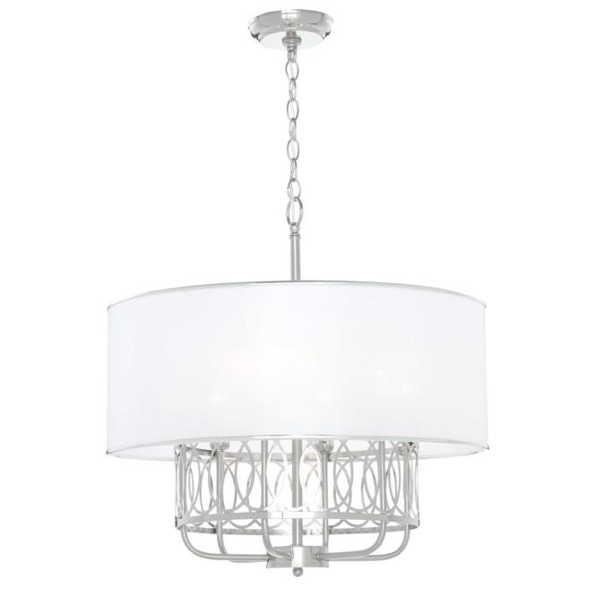 Venn 6 Light Brushed Nickel Chandelier With White Fabric Shade