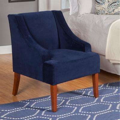 blue accent chairs for living room feng shui paintings the home depot swoop arm velvet chair navy