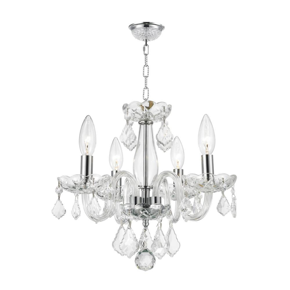 medium resolution of worldwide lighting clarion collection 4 light polished chrome crystal chandelier with clear glass