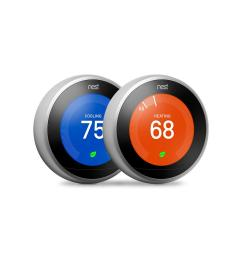 google nest learning thermostat 3rd gen in stainless steel 2 pack  [ 1000 x 1000 Pixel ]