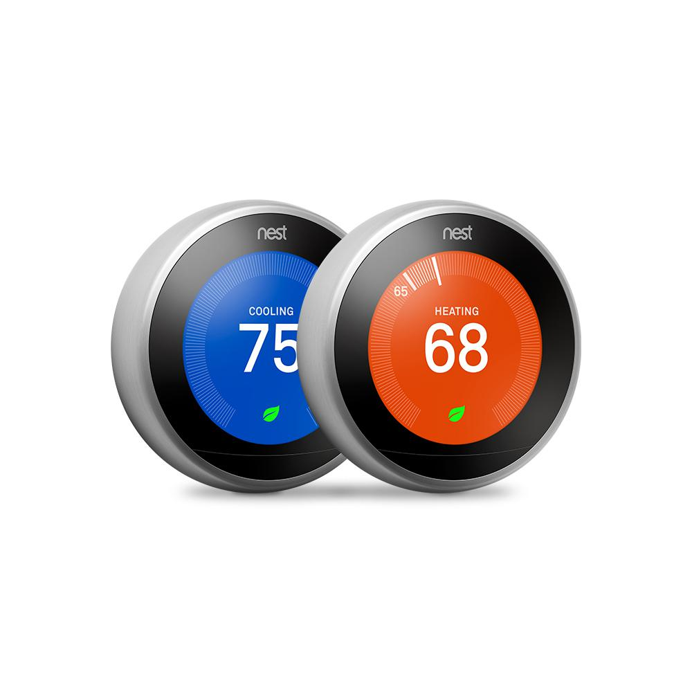 medium resolution of google nest learning thermostat 3rd gen in stainless steel 2 pack